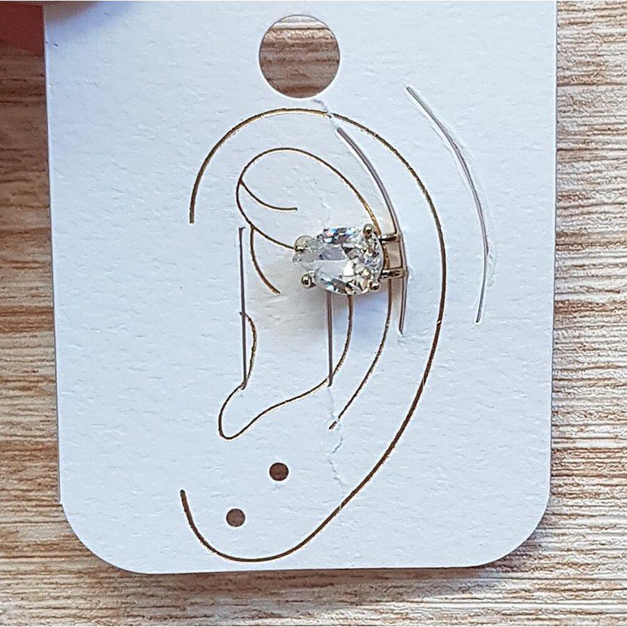 Piercing Fake Zircônia Gota Dourado Branco