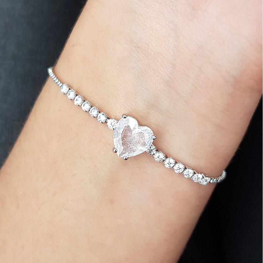 Pulseira Gravatinha Zircônia Coração Prata Rosa
