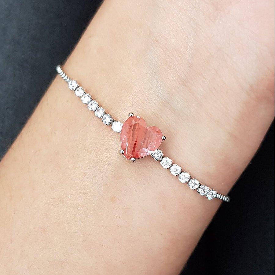 Pulseira Gravatinha Zircônia Coração Prata Rosê