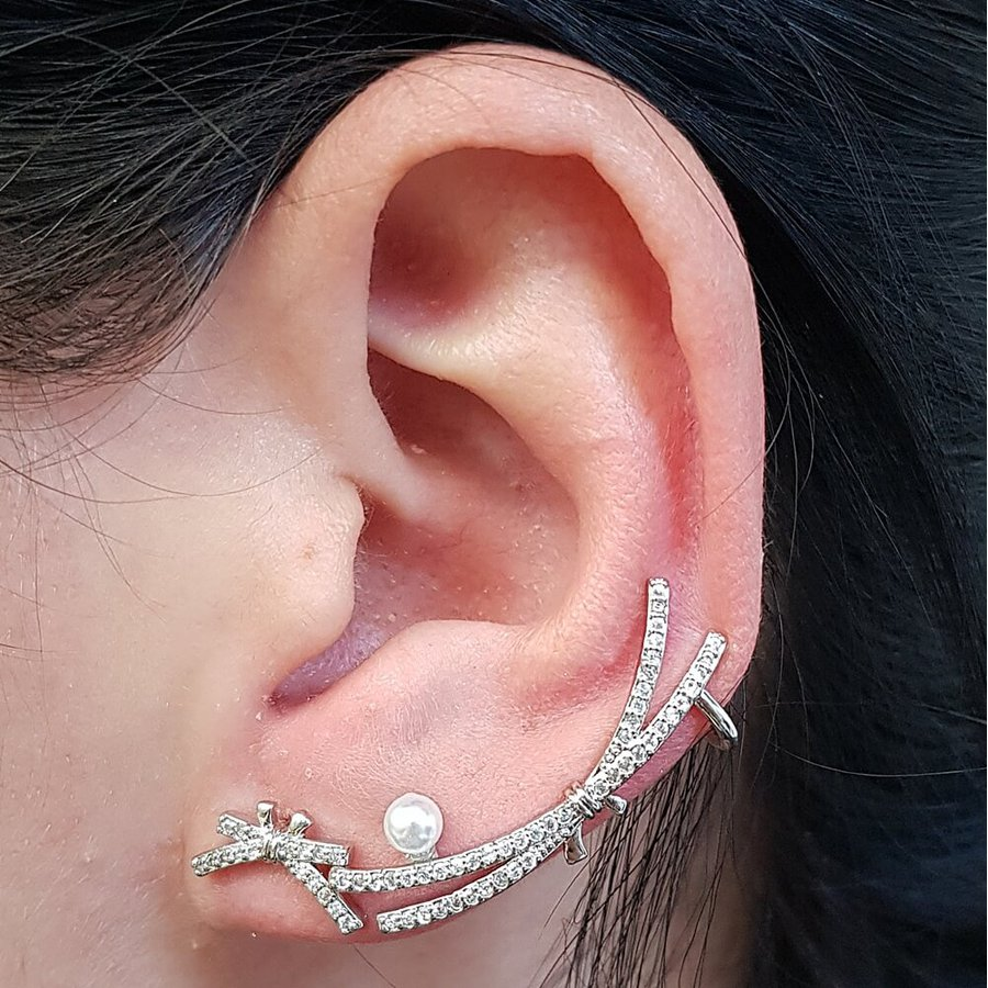 Conjunto Ear Cuff Libélula Prata