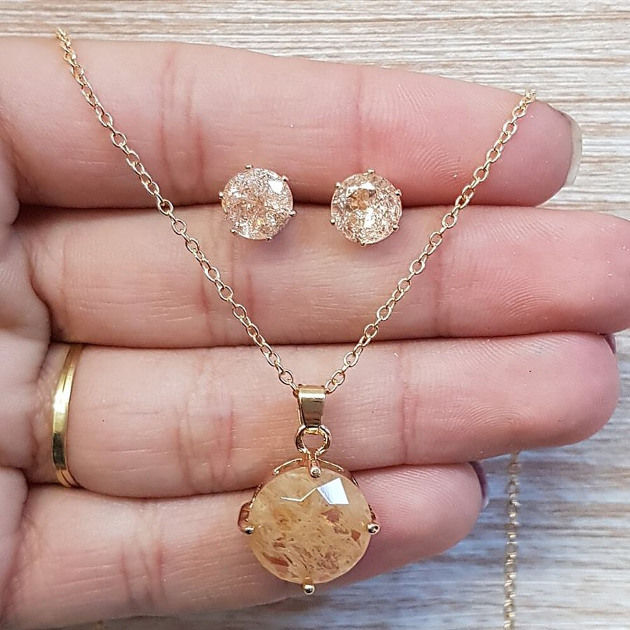 Conjunto Dourado Champanhe