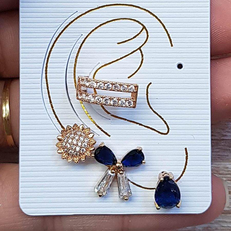 Kit De Brincos e Piercing Fake Zircônia Dourado Azul Marinho