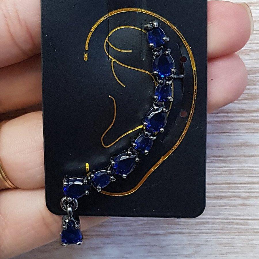 Brinco Ear Cuff Grande Zircônia Grafite Azul Marinho