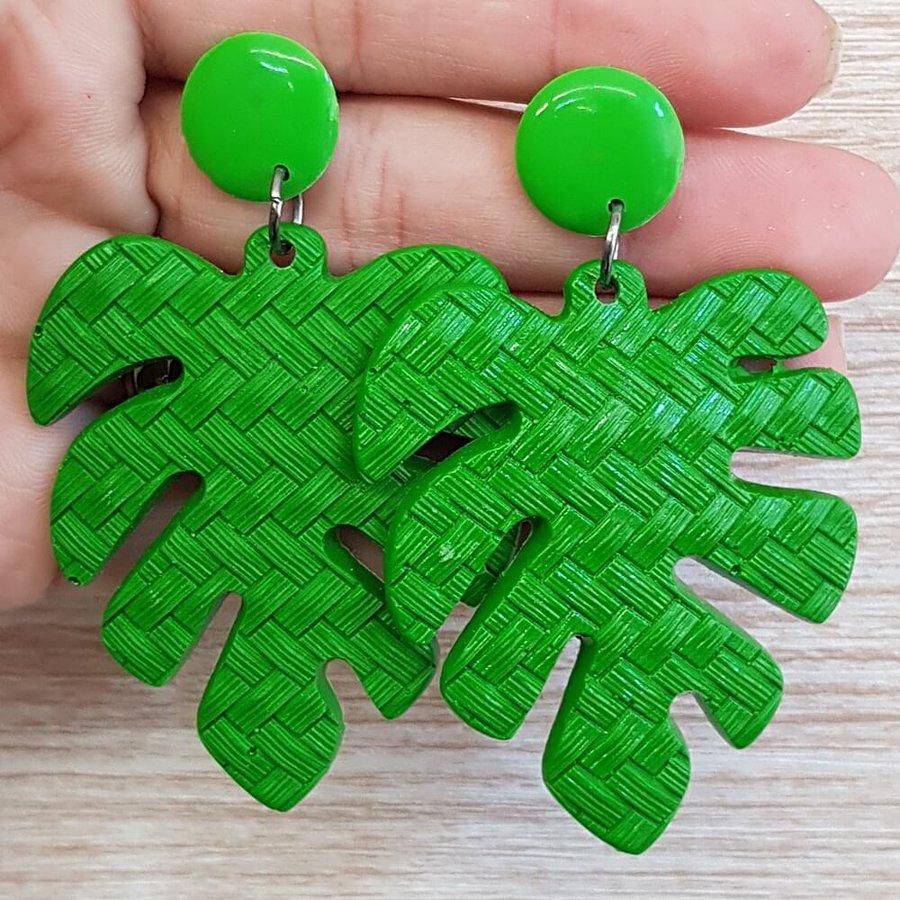 Brinco Grande Acrílico Folha Verde