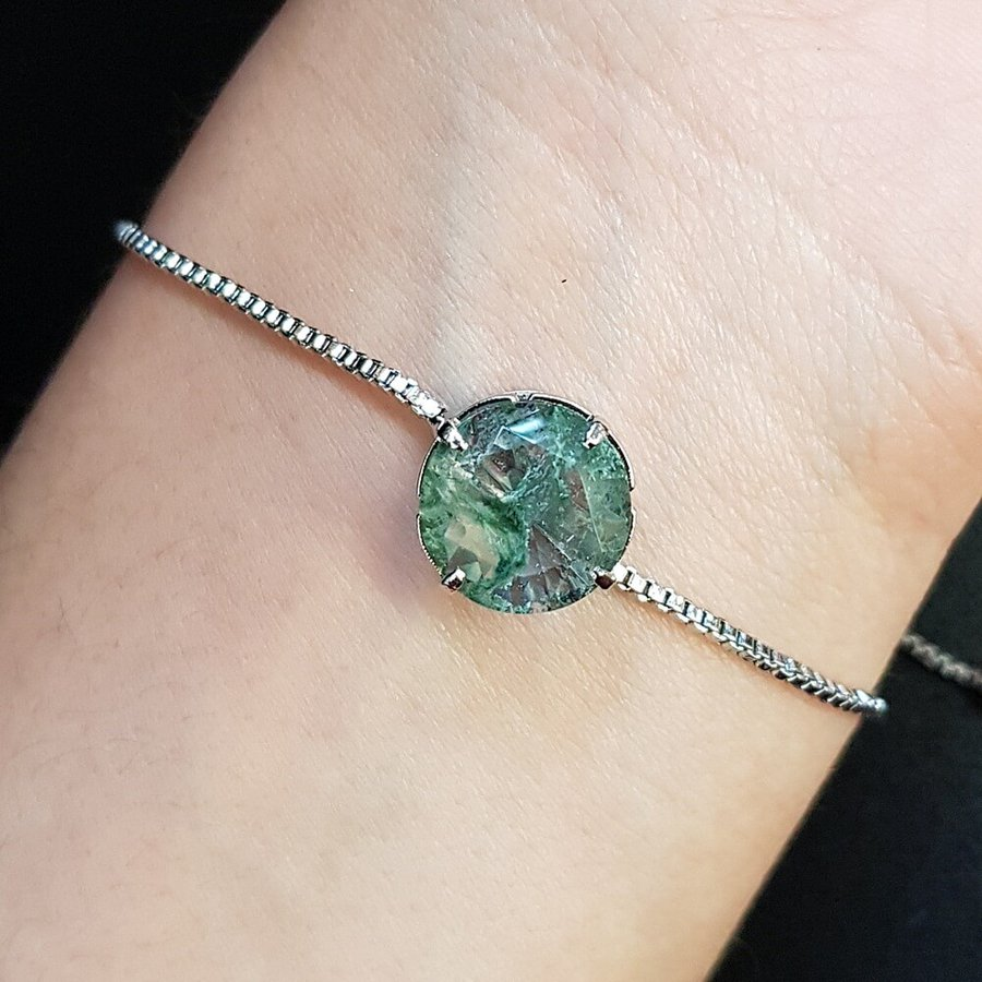 Pulseira Gravatinha Prata Verde