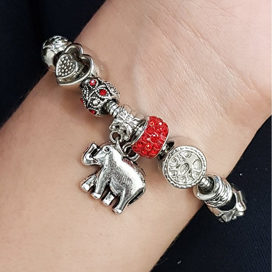 Pulseira Pandora Elefante Prata Laranja