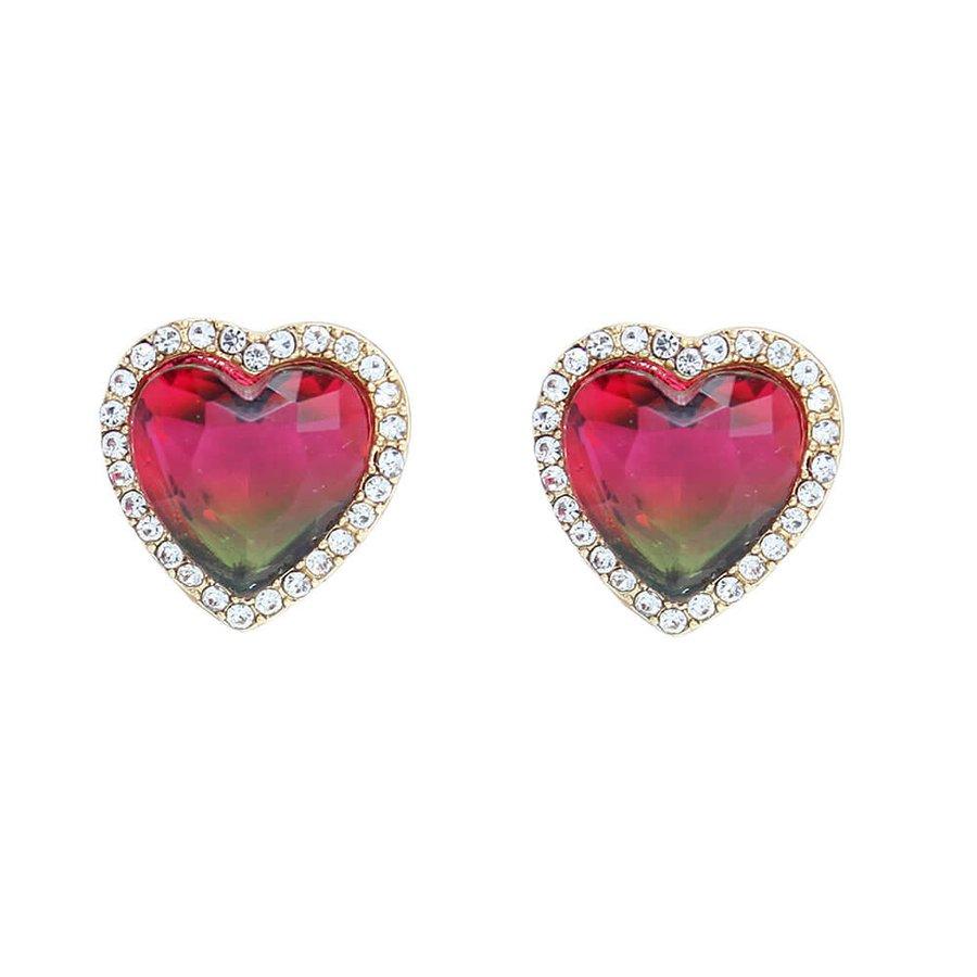 Brinco Pequeno Coração Pedra Rainbow Dourado Verde Vermelho Strass