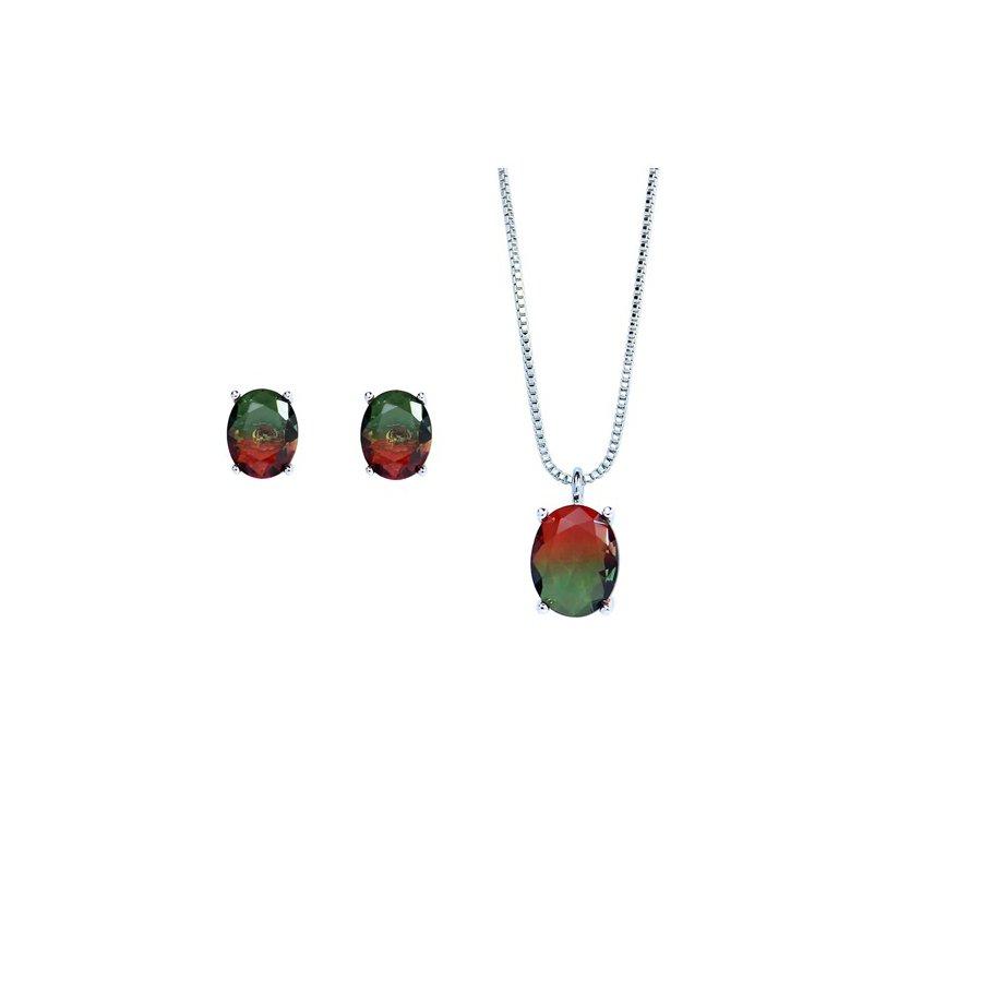 Conjunto Colar E Brinco Pedra Rainbow Oval Prata Verde Vermelho