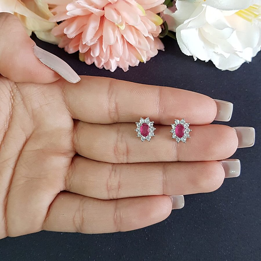 Brinco Mini Pedra Zircônia Prata Pink