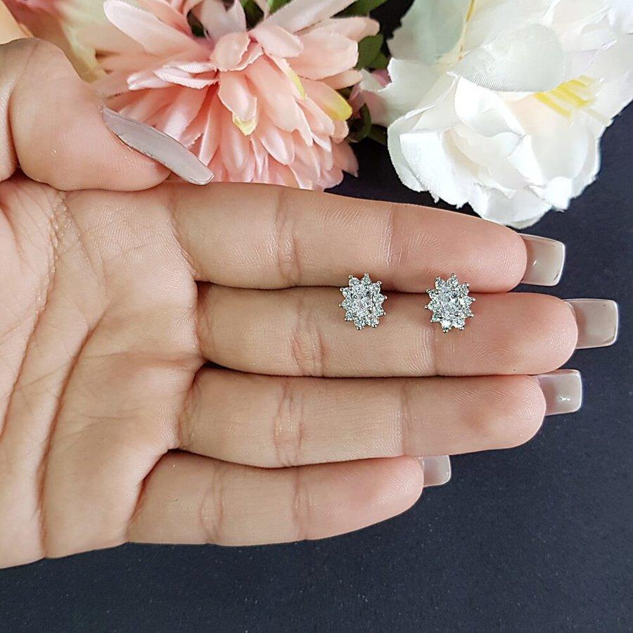 Brinco Mini Pedra Zircônia Prata Branco