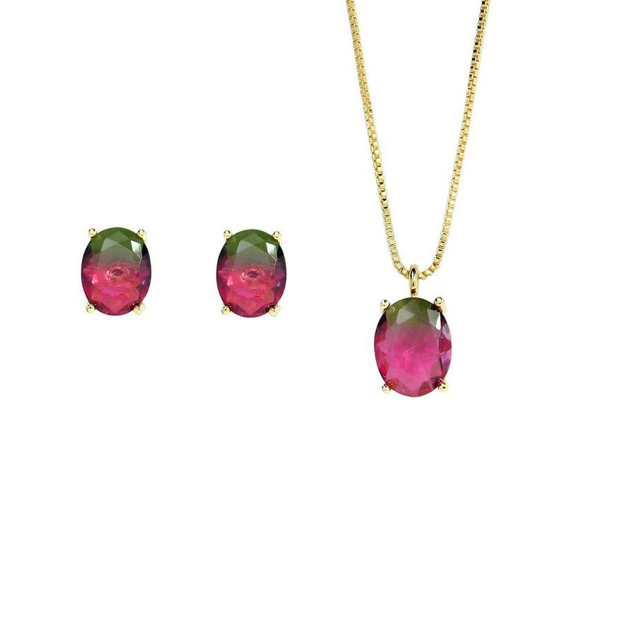 Conjunto Colar E Brinco Pedra Rainbow Oval Dourado Verde Rosa