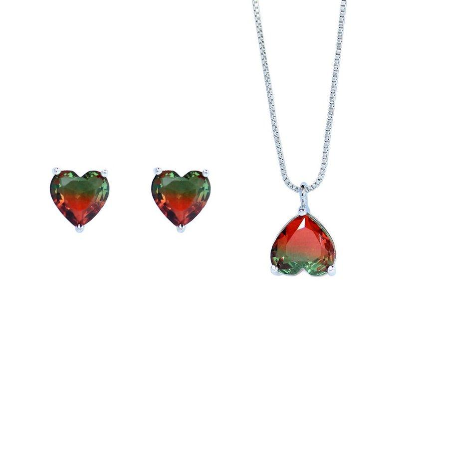 Conjunto Colar E Brinco Pedra Rainbow Coração Prata Verde Vermelho