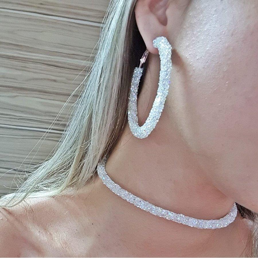 Conjunto Anitta Strass Branco Furta-Cor