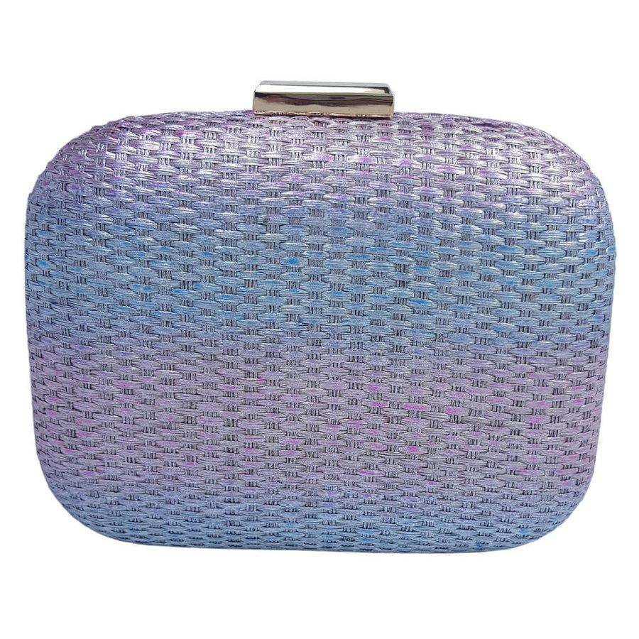 Bolsa Clutch Palha Azul e Rosa
