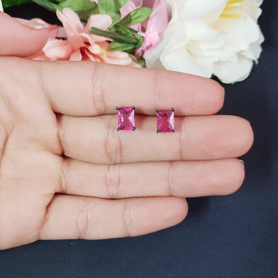 Brinco Semi Joia Mini Pedra Fusion Ródio Negro Pink
