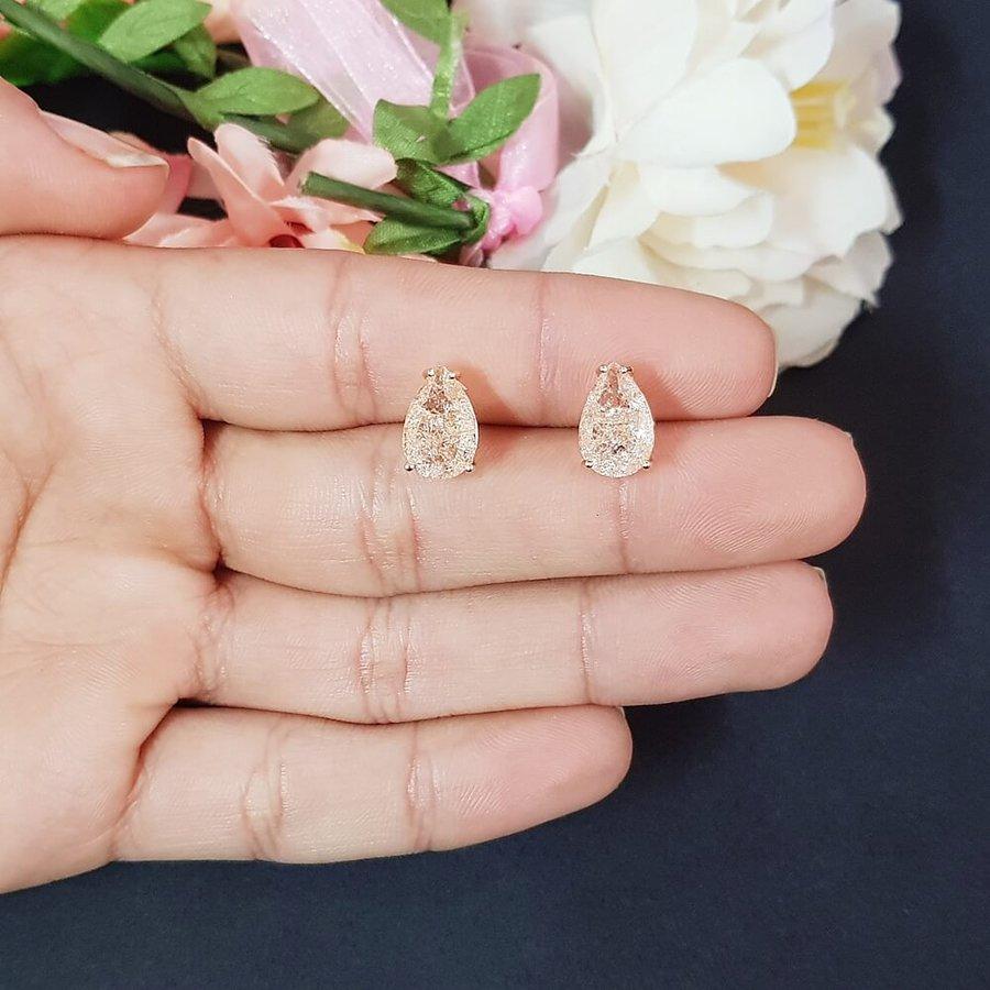 Brinco Semi Joia Pequeno Pedra Fusion Gota Ouro Rosê