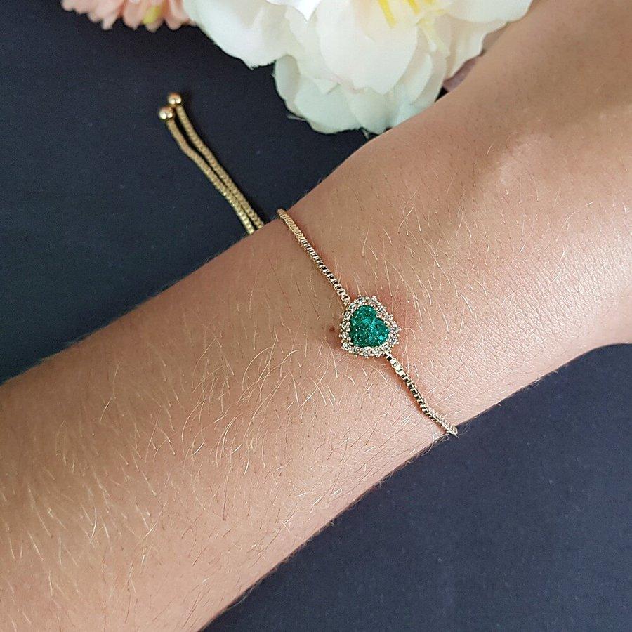 Pulseira Gravatinha Coração Pedra Fusion Dourado Verde