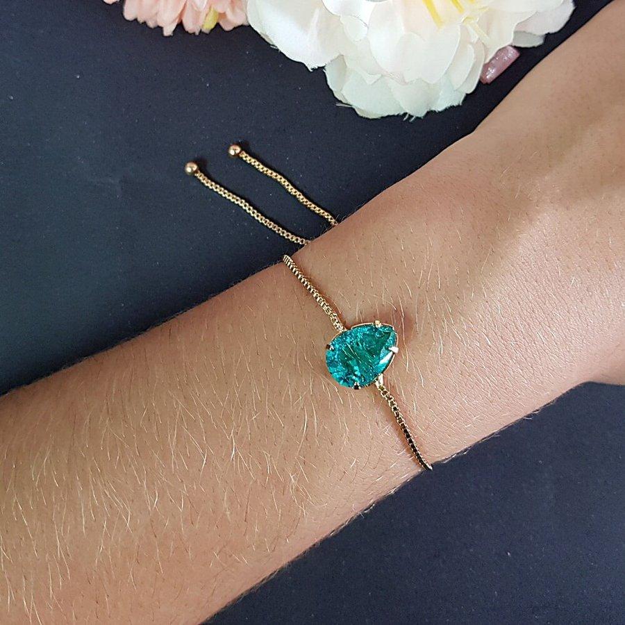 Pulseira Gravatinha Gota Pedra Fusion Dourado Verde