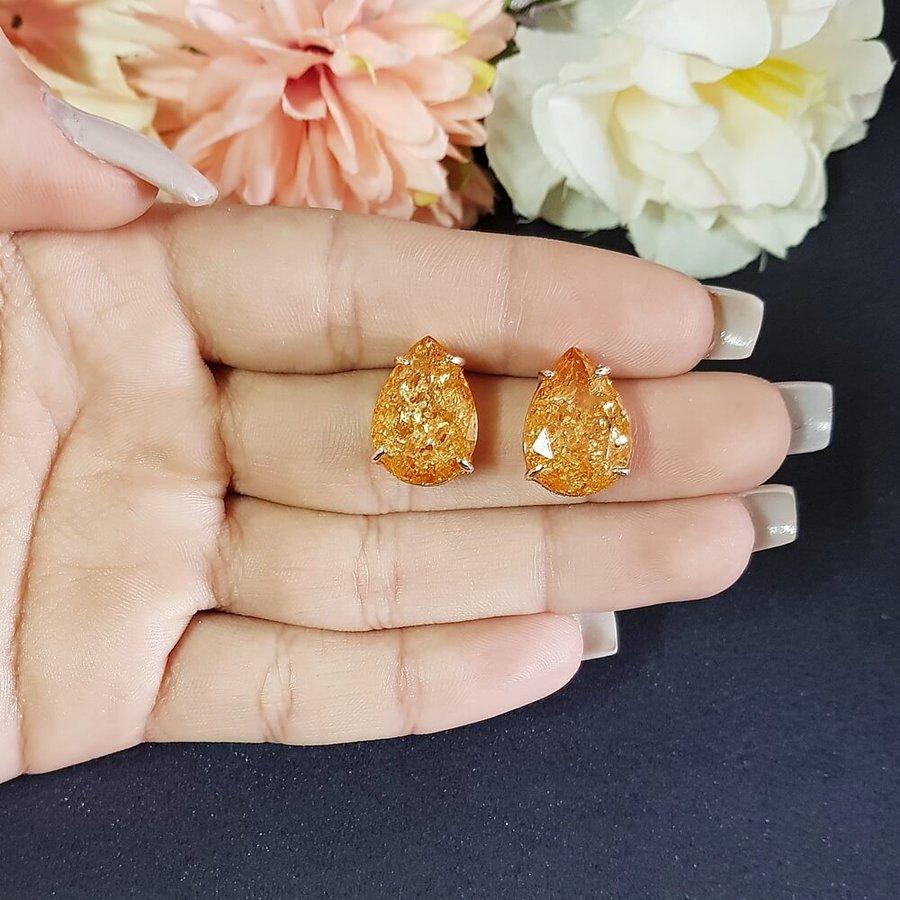 Brinco Pequeno Pedra Fusion Gota Dourado Champanhe