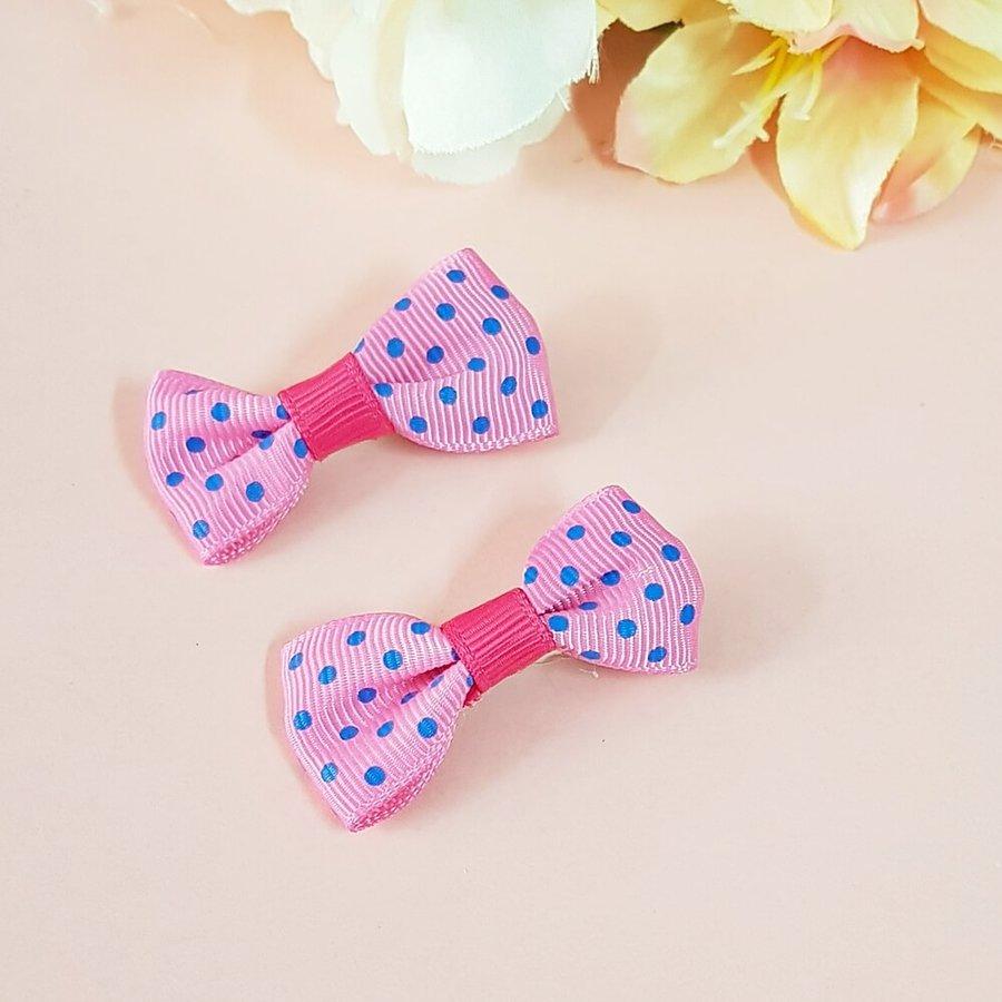 Bico De Pato Duplo Laço Bolinhas Pink