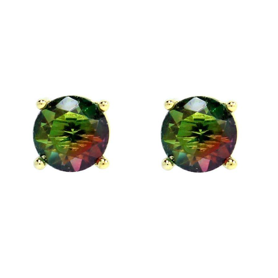 Brinco Mini Pedra Rainbow Brenda Dourado Verde Pink