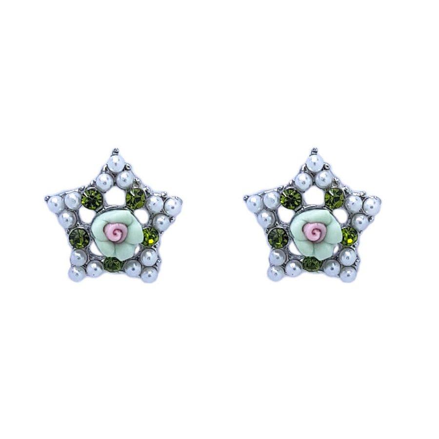 Brinco Pequeno Estrela Grace Prata Verde