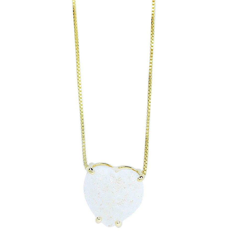 Colar Zircônia Pedra Fusion Coração Laila Dourado Branco