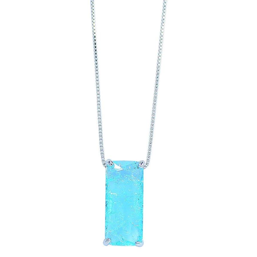 Colar Zircônia Pedra Fusion Lilian Prata Azul Claro