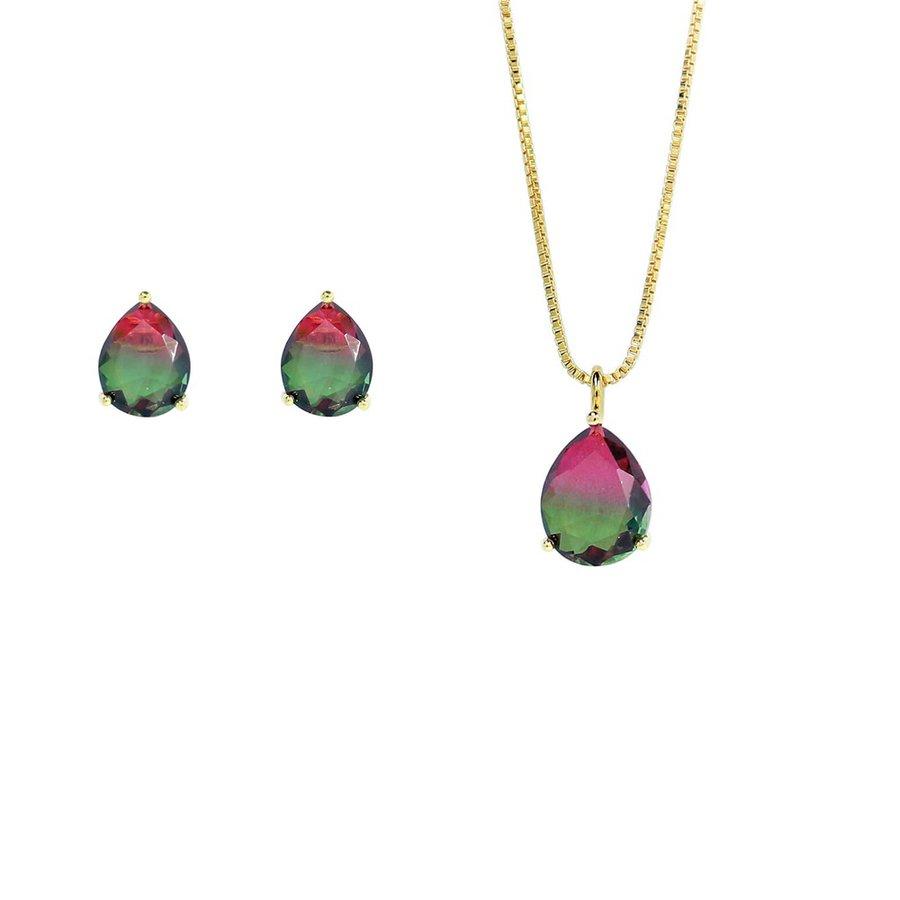 Conjunto Colar E Brinco Pedra Rainbow Gota Olivia Dourado Verde Pink