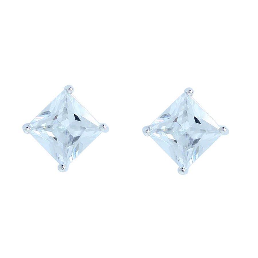 Brinco Pequeno Zircônia Quadrado Prata