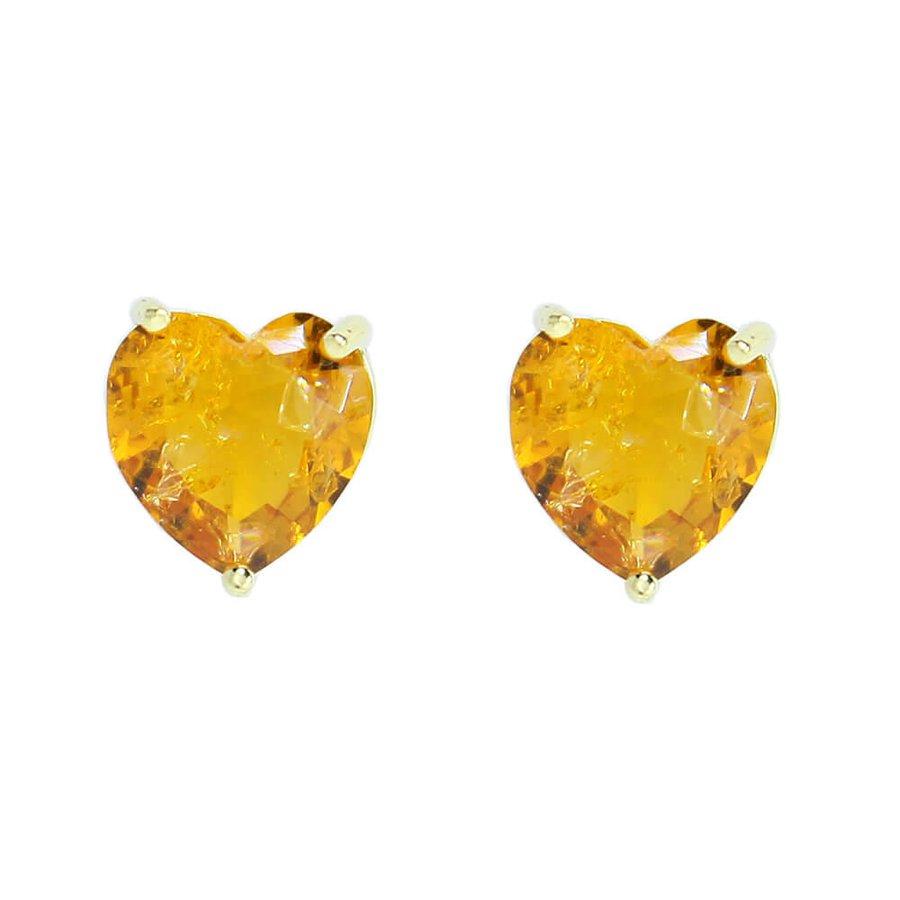 Brinco Pequeno Pedra Fusion Coração Raissa Dourado Amarelo
