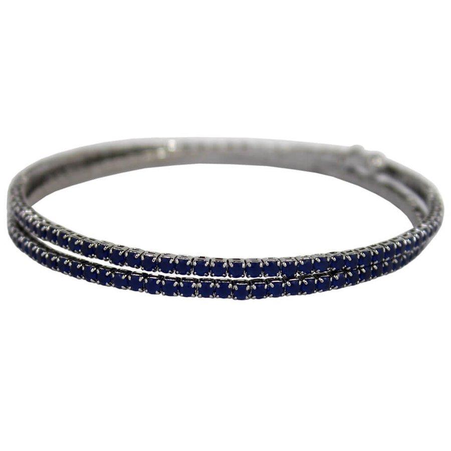 Pulseira Bracelete Zircônia Rubila Grafite Azul Marinho