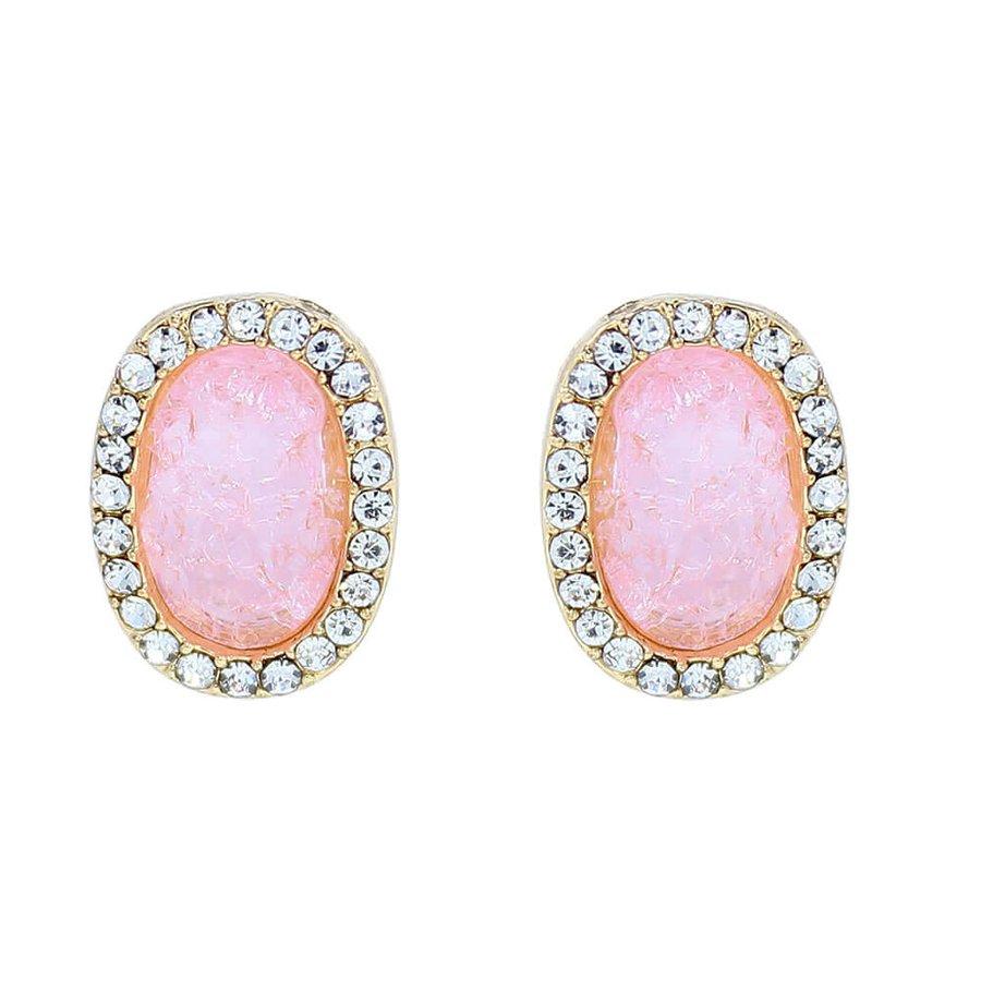 Brinco Pequeno Pedra Fusion Talia Dourado Rosa