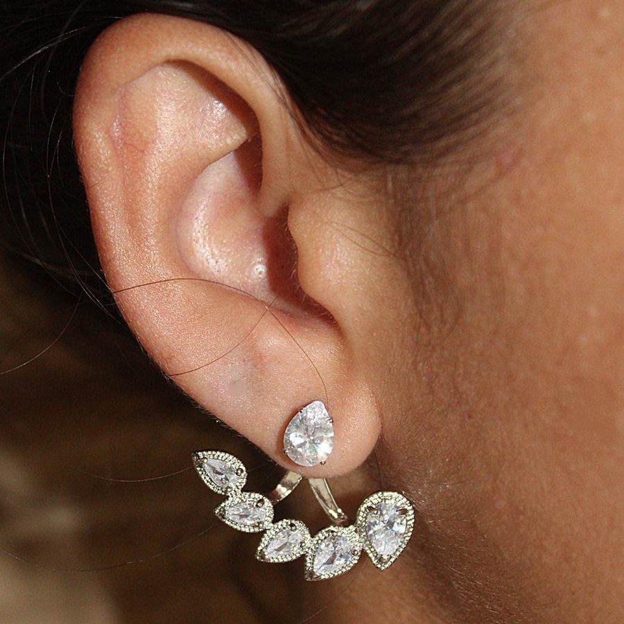 Brinco Ear Jacket Zircônia Zuleica Prata Branco *