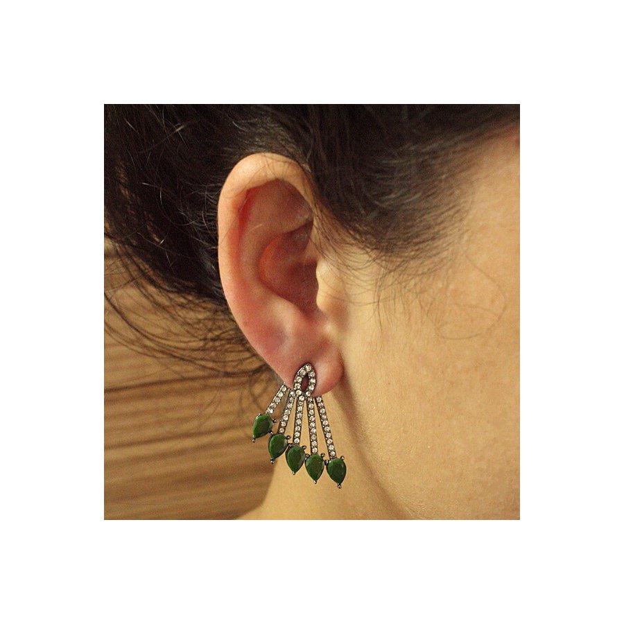 Brinco Ear Jacket Luna Grafite Verde