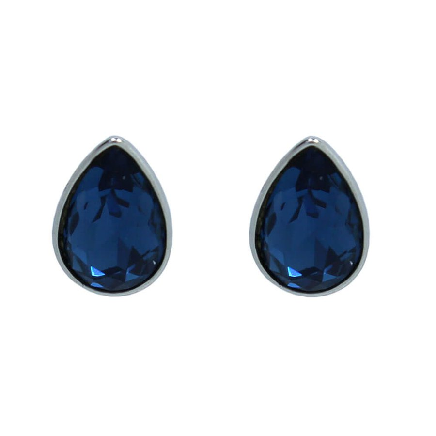 Brinco Gota Prata Azul Marinho *