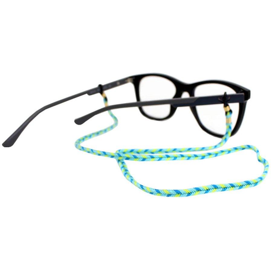 Cordão para Óculos Trancinha Bem Fina Azul Verde