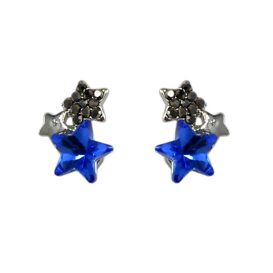 Brinco Estrela Prata Velho Azul*