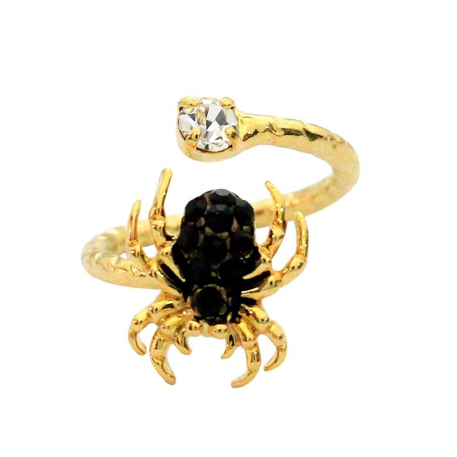Anel Falange Dourado Aranha Preta