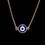 Escapulário Antialérgico Olho Grego Emoldurado Banho Ouro