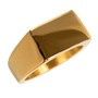 Anel Retangular Ouro Aço Inox