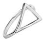 Anel Triângulo Deitado Semijoia Ródio Branco