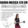 Barra de Musculação Maciça e Recartilhada 120cm