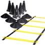 Kit 6 Cones com Furo + Escada de Agilidade + 6 Chapéu Chinês Preto