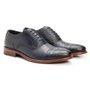 Sapato Masculino Oxford Brogue Azul Marinho em Couro Legítimo