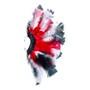 Brinco Penas Vermelho/Branco/Preto Regulável - 1 PEÇA (Não é o par)