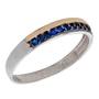 Anel De Prata 925 Cravejado Azul Com Fio De Ouro