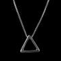 Colar Masculino Triângulo Tridimensional Ródio Branco