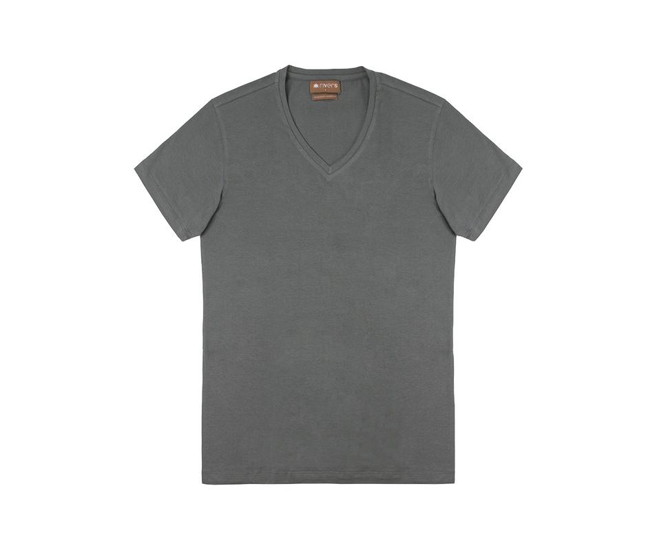 T-shirt Cinza Chumbo gola V