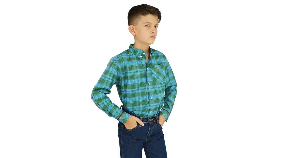 Camisa Manga Longa Xadrez Laço Verde Infantil